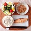 焼き鮭、玉子ミックスサラダ、小粒納豆。