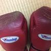 ボクシンググローブとタイの新聞。