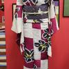 紫と白市松に桔梗絽小紋×紫地雨とスズメ絽縮緬仕立て上がり名古屋帯