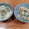 マカロニサラダと素麺の味噌汁