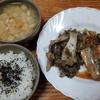 鰯の味噌煮とエリンギのガーリックバター炒めとジャガイモの味噌汁