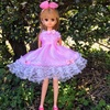 ピンクのお花レースのドレス