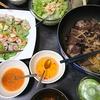生春巻き、まぐろ血合とネギの煮たん、ポテトサラダ、味噌汁