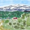 「産後病方薬心得」と寒河江川から望む残雪の月山