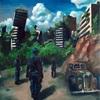 【油彩】青空の廃墟都市を探索する部隊の油絵