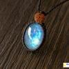 永遠の愛の象徴!お月様のエネルギーを授かり、優しい愛情で満たされたいあなたへ!レインボームーンストーン+ルドラクシャの天然石マクラメネックレス/ペンダント・第7チャクラ対応