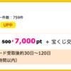 【ハピタス】楽天カードで7,000pt(7,000円)! 更に今なら7,000円相当のポイントプレゼントも!