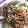 【スパゲッティレシピ】牡蠣の上海焼きそば風でビールがうまい!^^