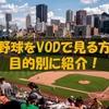 プロ野球をVOD(動画配信サービス)で見るならコレ!目的別に紹介!