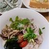 豚しゃぶ・ワカメ・なんやかんや~ぶっかける白石温麺