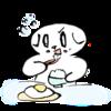 朝食は目玉焼きと決めている猫の無料イラスト