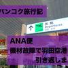 #1 バンコク旅行記 ANA便 機材故障で羽田空港に引き返しからのスワンナプーム空港へ