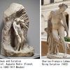 エウリュディケー 竪琴の名手オルペウス(オルフェウス)の妻としてその名が広く知られ,ロダンをはじめ,幾多の絵画・彫刻に取り上げられてもいます.「オルペウスと結婚してまもなく,アリスタイオスに凌辱を加えられそうになり,逃げる間に毒ヘビにかまれ頓死した」というのが一般的な解説.しかし,アリスタイオスの名前はウェルギリウ「農耕詩」に描かれているものの,この物語の主要な文献「転身物語」では,草原を散歩している途中に毒ヘビに噛まれる場面から物語が始まります.