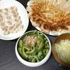 餃子、シュウマイ、ゴーヤめんつゆ漬け、スープ