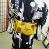 生徒さん~2月に着物を着て梅を見に行くぞーレッスン★半幅帯☆横一文字(かるた)結び