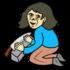 包丁を研いでいる山姥 のイラスト