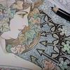 1】透明水彩+色鉛筆でミュシャ『つた』のページ・ミュシャ塗り絵ファンタジーより