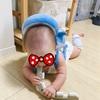 生後7ヶ月息子の生態。ジョイントマットをひっぺがし、プーさんメリーで独自の遊びを開発。イケイケです。