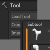 Zbrushのツールとサブツールの違い。複数のサブツールのツール間の移動方法