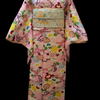 薄ピンク地牡丹小紋×白地牡丹と桜の扇袋帯