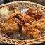 9月18日【昼のソト飲み】ビヤレストラン ミュンヘン、ほうれん草のソテー、若鶏の唐揚、シーフードピラフ。