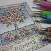 完成☆POMME(リンゴ)のページをボールペン塗りで