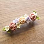 編み図あり|タティングレース糸で編むバラと小花のバレッタピンの作り方と花モチーフ色々