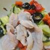 ズッキーニとパプリカ、ブラックオリーブの豚しゃぶサラダ