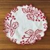 アンティークの刺繍ドイリー 、レッドワーク