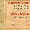 ヒトラーのオリンピック、第二次世界大戦前最後の五輪「1936年ベルリンオリンピック」の野球競技のチケット