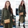 """韓国女優のチャン·ヒジン,""""グリーン·トレンチ·コート·ファッション"""""""
