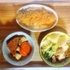 ささみフライ、がんもの煮物、白菜鮭スープ