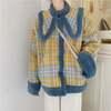 韓国ファッション レディース ボアブルゾン チェック柄 大きい襟 ショートコート ボアジャケット