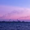 海中電柱のある風景で夕景撮影