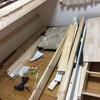 DIY ロフトベッドの下にダブルベッド作成。間柱に固定。