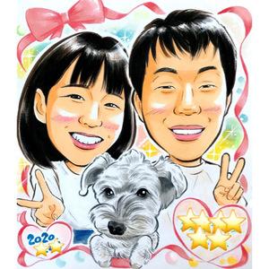 似顔絵ご注文作品(44)/米寿、銀婚式、カップル記念日、ペット、富士山