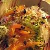 ✴︎帆立鍋をあおさと胡麻風味酢醤油で(覚書き)、エンダイブとラディッシュとオレンジパプリカと鰹節のサラダ/他。