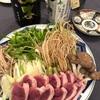 ふるさと納税の鴨せり鍋を日本酒で楽しむ