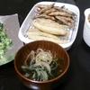 きびなごの竜田揚げ、ししゃものフリット、吸い物、人参小松菜ツナ炒め、はんぺんチーズ