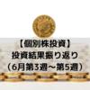 【個別株投資】投資結果振り返り(6月第3週~第5週)