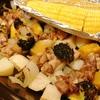 鶏肉と根菜のオーブン焼きとうもろこし添え