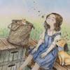 水彩絵の具から色鉛筆で塗った「太陽のにおい」エポルの塗り絵ブックより