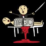 マジックで大失敗したマジシャン のイラスト