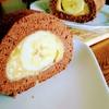 ロールケーキ初挑戦!ココアとバナナのカスタードロールケーキ