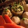 ✴︎大根器の海老餡詰めと里芋と人参と蒟蒻の煮物、紅鮭とキャベツと椎茸とネギと生姜の味噌汁
