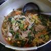 幸運な病のレシピ( 1287 )夜:レバー唐揚げ、汁、後に冷麺、酒飲んじまった