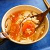 朝の酸辣湯、新米、ヒラタケ、キュウリと梨の酢のものなど