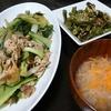 豚ももチンゲン菜炒め、ししとう焼き浸し、味噌汁