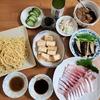 越後桜という日本酒とカンパチとブリのお刺身で晩酌。