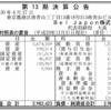 Bel Japon株式会社 第13期決算公告